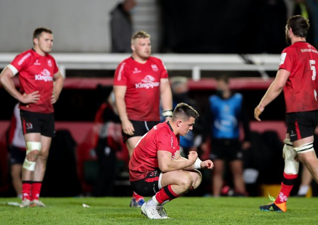 James Hume and his Ulster team-mates appear dejected after the Challenge Cup semi-final match on Friday.
