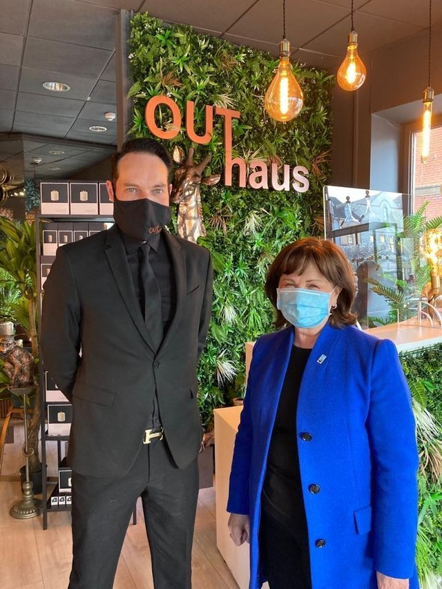 Economy Minister, Diane Dodds, met Thomas Vaughan of Out Haus during a visit to Portadown