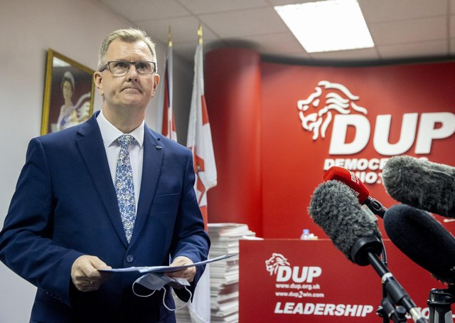 DUP MP for Lagan Valley Sir Jeffrey Donaldson launches his campaign to become leader of the DUP at the constituency office of DUP MP Gavin Robinson in east Belfast. Photo: Liam McBurney/PA Wire