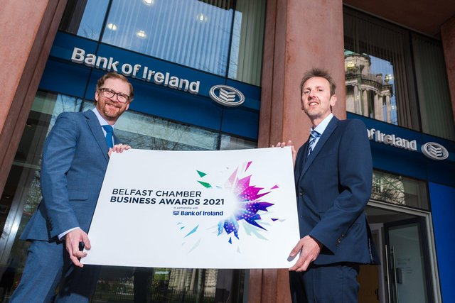 Simon Hamilton, CEO of Belfast Chamber with Paul McClurg, Head of Belfast Business Banking at Bank of Ireland UK