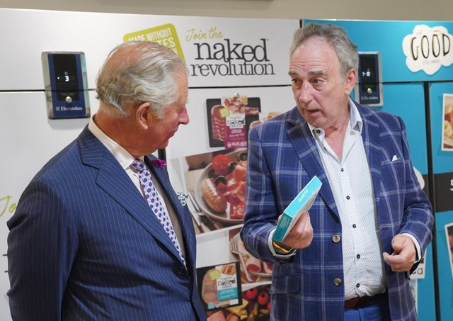 HRH Prince of Wales samples some of the products from the Good Little Company along with Denis Lynn from Finnebrogue during a visit to the Downpatrick artisan company in 2019. Photo by Aaron McCracken