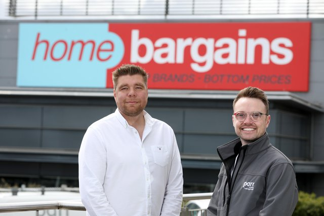 Steve Parr, Managing Director and Phillip McGee, Operations Director, Parr Facilities Management Ltd, at the newly opened 30,000 square foot Home Bargains store at Longwood Retail Park, Newtownabbey