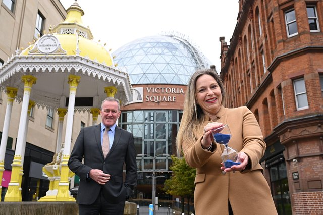 Finance Minister, Conor Murphy with Michelle Greeves, Centre Manager at Victoria Square Belfast