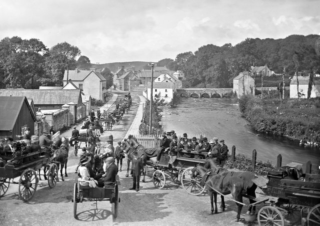 Pilgrims starting from Pettigo, Co Fermanagh, for Lough Derg, Co Donegal. NLI Ref: L_ROY_10811. Picture: National Library of Ireland