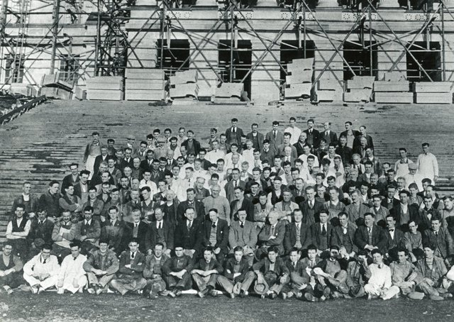 Some of those involved in the construction of Parliament Buildings at Stormont, Belfast. Picture: News Letter archives