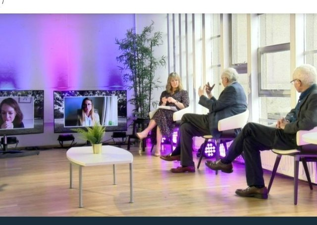 The web seminar yestserday that was broadcast from the Ulster Museum, From left Dr Caoimhe Nic Dháibhéid, Dr Niamh Gallagher, Tara Mills, Lord Bew and Prof Henry Patterson