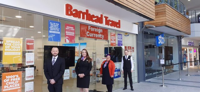 Kieran O'Donnell, ASM,  Kelly Hutchinson, Store Manager, Julie-Anne Kennedy, ASM and Conor Maguire, Travel Consultant