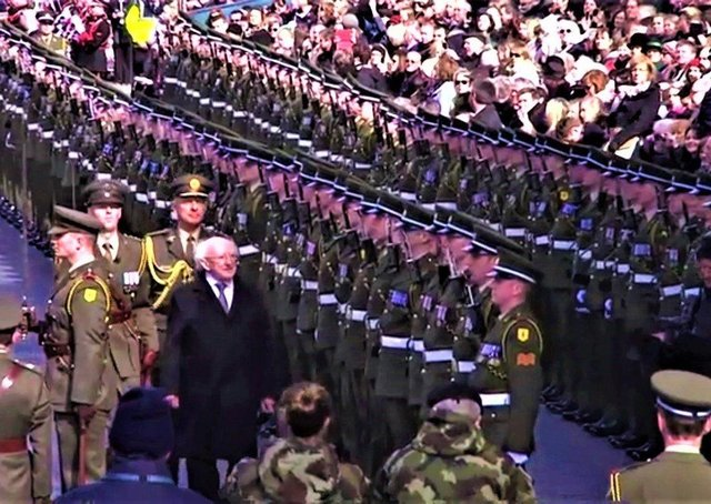 Michael D Higgins inspects the ranks of the Irish Army at the 1916 commemoration