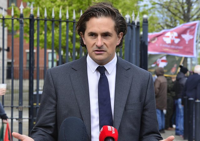 Former veterans minister Johnny Mercer pictured at Laganside Court on Tuesday. Picture: Arthur Allison/Pacemaker.
