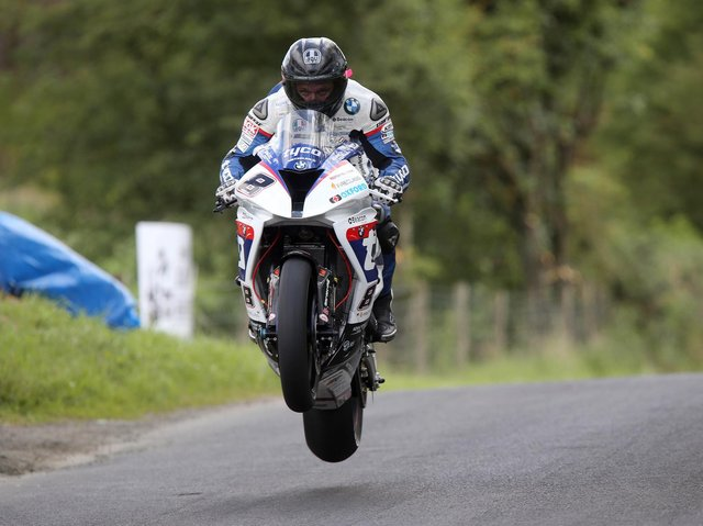 Guy Martin on the Tyco BMW on his last appearance at the Armoy Road Races in 2015.
