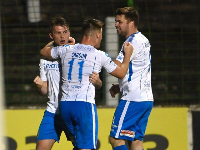 Stephen Lowry celebrates his late leveller for Coleraine