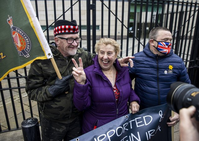 Supporters of the two veterans accused of the murder of Joe McCann in 1972 celebrate hearing the case at Laganside Court in Belfast has collapsed. Photo: Liam McBurney/PA Wire