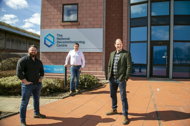 Decom's MD Sean Conway, BDM Matthew Drumm and Commercial Director Nick McNally at the National Decommissioning Centre