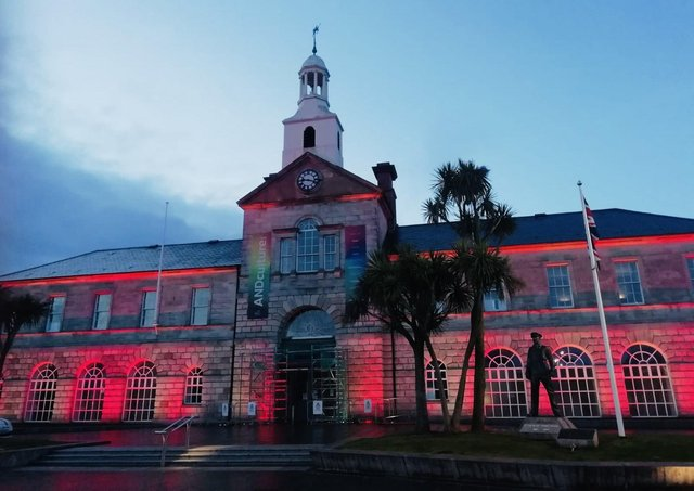 A council building in Newtownards is lit up to mark the centenary of Northern Ireland on May 4 2021, as were council buildings across Ards and North Down Council