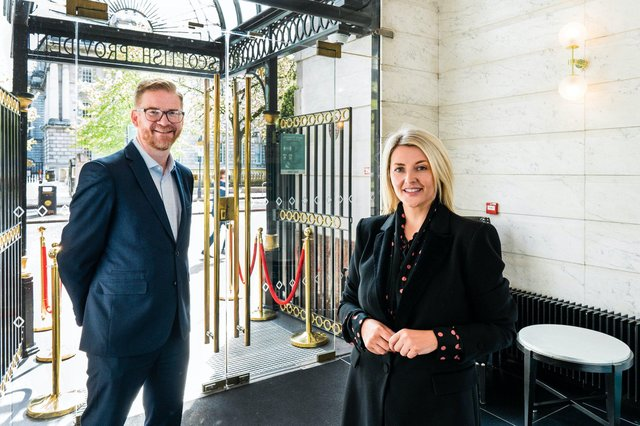 Belfast Chamber's Chief Executive, Simon Hamilton in the reception area of the Scottish Provident Building during his recent visit, alongside VenYou Client Services Director, Donna Linehan