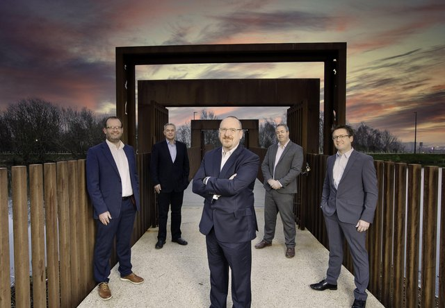 McAdam Design directors Fergus Kerr, John Findlay, Neal Kerr and Stephen Harding join existing managing director, Martin Hare as co-owners of this long-running business