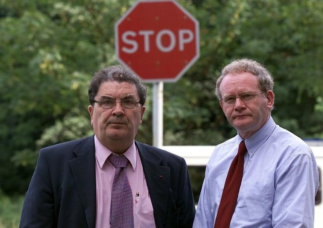 The then SDLP leader John Hume and Sinn Fein chief negotiator Martin McGuinness at Weston Park, in July 2001, where what was in effect an amnesty for absconding terrorists was proposed in paragraph 20 of the document that emerged from the discussions
