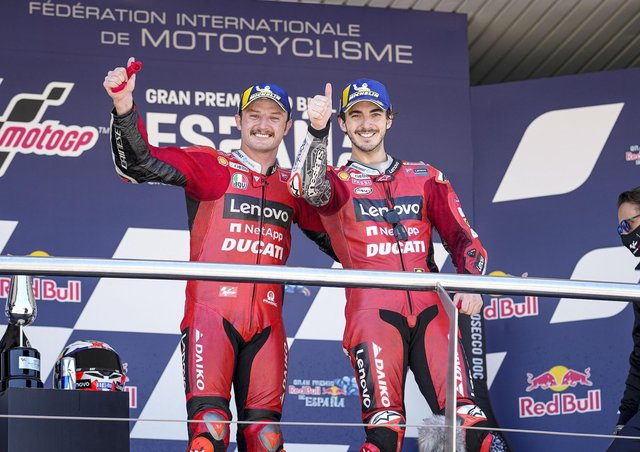 Jack Miller and Pecco Bagnaia celebrate a Ducati 1-2 at the Spanish GP.