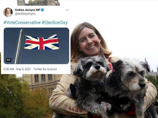 Tory MP Andrea Jenkyns and the tweet she subsequently deleted.