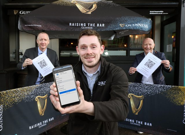 Mark Mulholland, On Trade Sales Manager, Diageo Northern Ireland with Colin Neill, Chief Executive, Hospitality Ulster and Richard Black from Ryan's Bar, Belfast