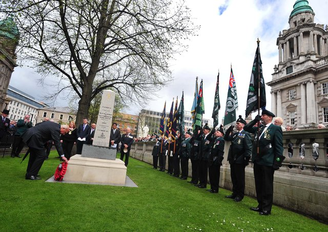 Veterans attend re-dedication of the Korean war Memorial at the Belfast City Hall Hall in April 2010.  The 1st Battalion of the Royal Ulster Rifles were the first unit from England to join the United Nations force in Korea when they landed at Pusan on November 5, 1950 . They soon joined the advance to Pyongyang and were then involved in the defence of Seoul in January 1951. Picture: Colm Lenaghan/Pacemaker