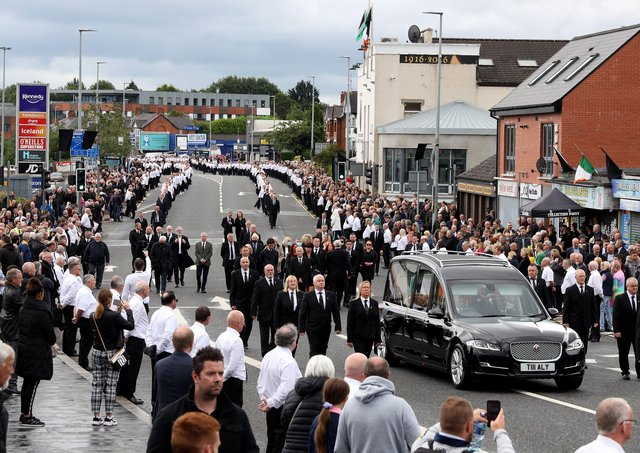 The funeral of Bobby Storey last summer. Photo Pacemaker Press