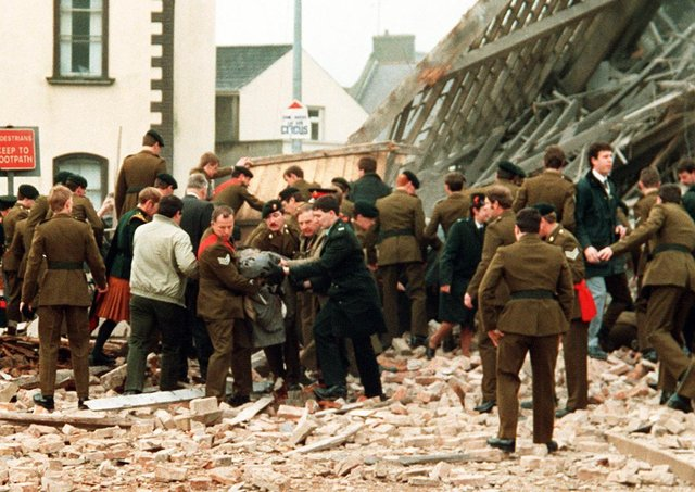 Enniskillen Poppy Day massacre. The IRA blew up a building at Remembrance Day service in 1987 which killed 11 people who were standing in and around the area. . Pacemaker Press