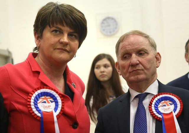 Outgoing DUP leader Arlene Foster with Lord Morrow.