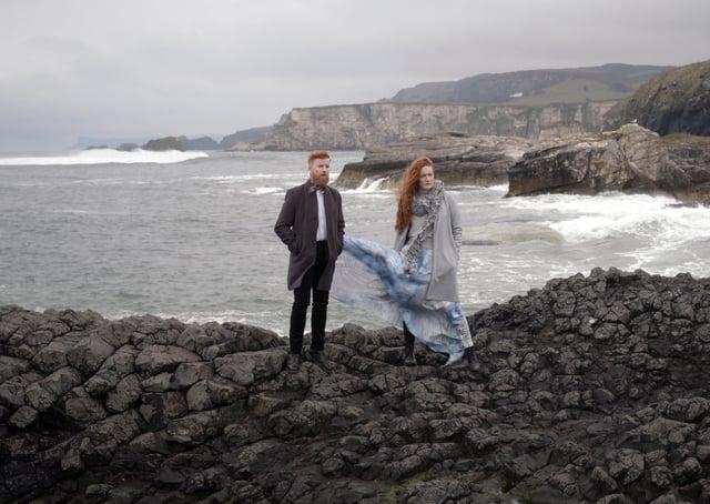 Filming 'Méilte Cheann Dubhrann' at Ballintoy Harbour with John Porter and Margaret Bridge