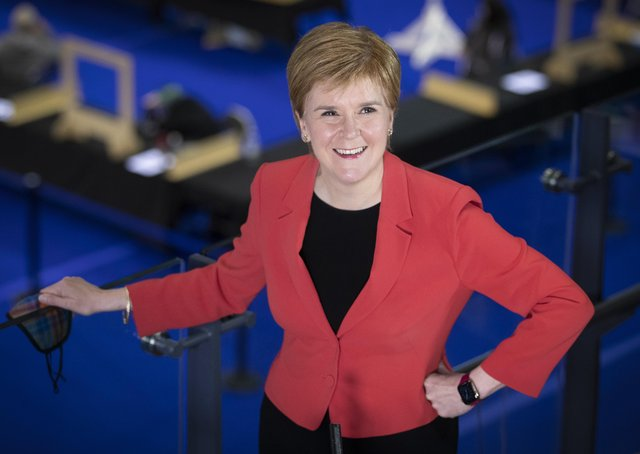 First Minister and SNP party leader Nicola Sturgeon at the count for the Scottish Parliamentary Elections at the Emirates Arena, Glasgow yesterday