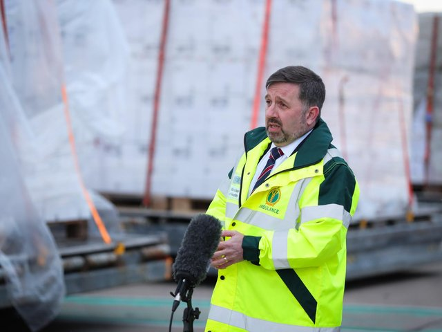 Northern Ireland Health Minister Robin Swann at Belfast Airport as the world's largest cargo plane leaves Northern Ireland with three 18-tonne oxygen generators and 1,000 ventilators as part of the UK's latest response to India's Covid-19 crisis.