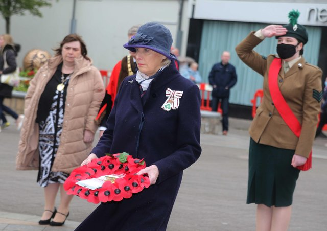Alison Millar Lord Lt Co Londonderry lays a wreath in Coleraine on Saturday at the war memorial to mark VE day. Picture kevin McAuley/McAuley Multimedia
