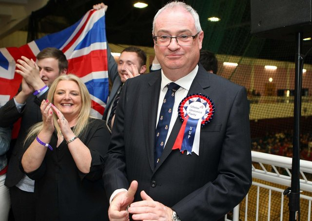 Steve Aiken being elected for the first time to Stormont in 2016, as an Ulster Unionist MLA for South Antrim