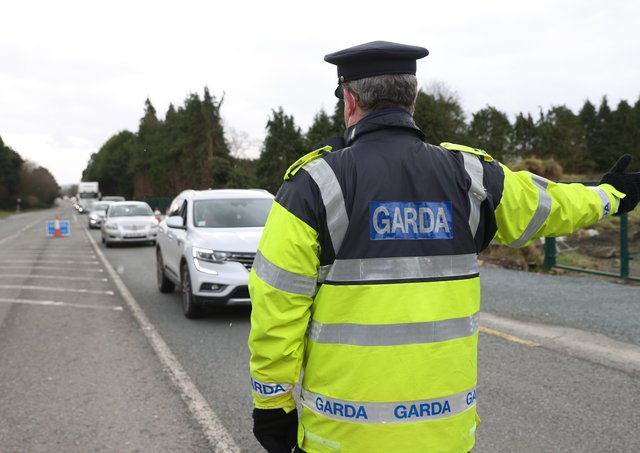 """Garda patrol close to Drogheda in February. People who live in Northern Ireland faced fines for crossing the Irish border without """"a reasonable excuse"""" but now the Irish government have rejected Robin Swann's pleas to stop cross border travel into the Province.Photo Stephen Davison/Pacemaker Press"""