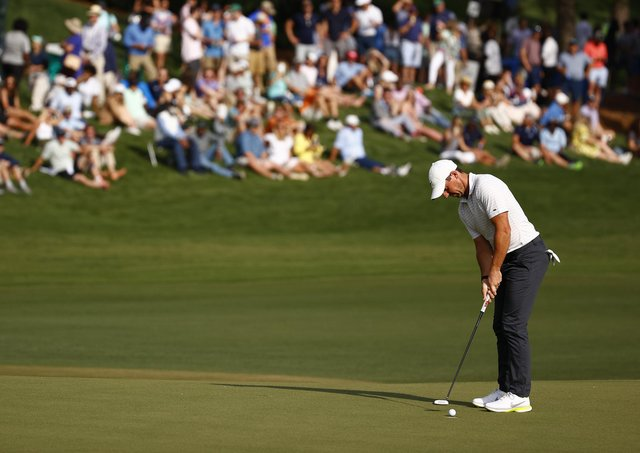 Rory McIlroy of Northern Ireland putts on the 18th green during the third round of the 2021 Wells Fargo Championship at Quail Hollow Club on May 08, 2021 in Charlotte, North Carolina. (Photo by Jared C. Tilton/Getty Images)