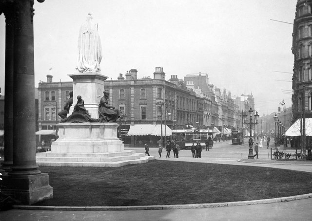 Photograph looking out from City Hall, Donegall Square, Belfast, in the direction of the Linen Hall Library. NLI Ref.: L_CAB_04202. Picture: National Library of Ireland