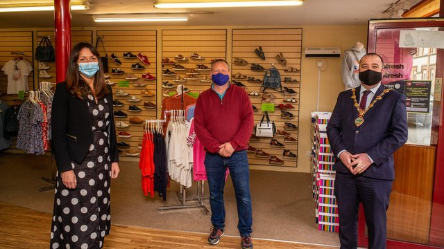 Ryan Bogal of S&K Shoes with Tara Nicholas, DCSDC Business Support Officer, and Mayor Brian Tierney