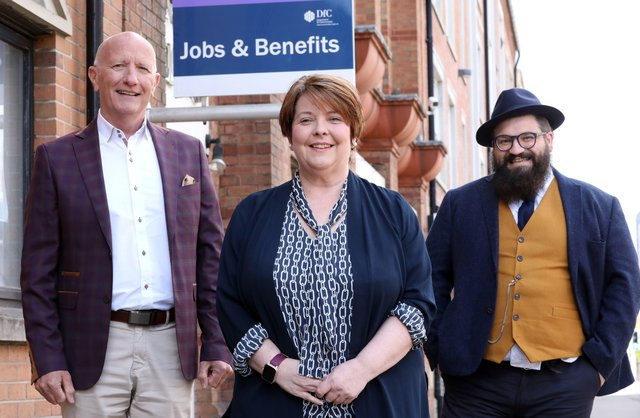 Colin Neill, Chief Executive of Hospitality Ulster, Ros Agnew, Belfast Jobs & Benefits Office Regional Manager and Aodhán Connolly, Director of the Northern Ireland Retail Consortium