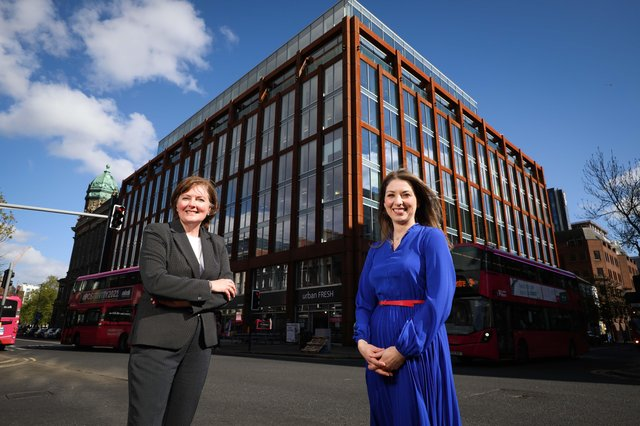 Deborah Stevenson, PwC NI, announces launch of new fully funded degree apprenticeship programme with Gillian Armstrong, Director of Business Education at Ulster University