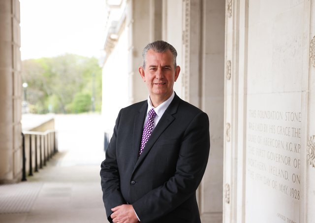 Minister Edwin Poots at Parliament Buildings, Stormont. Photo by Kelvin Boyes / Press Eye.