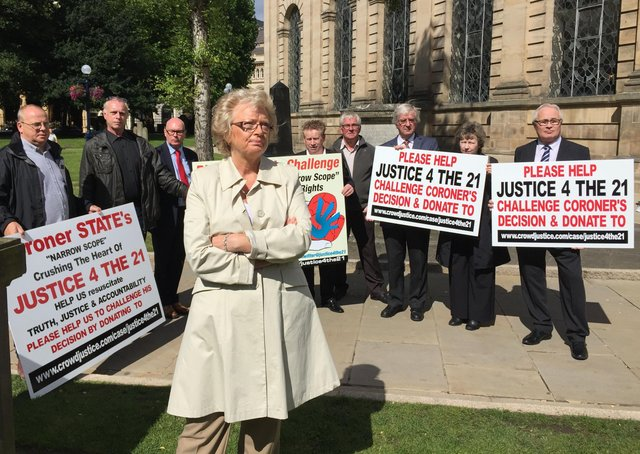 Julie Hambleton and other Birmingham pub bombings campaigners from the Justice4the21 group. Photo: Richard Vernalls/PA Wire