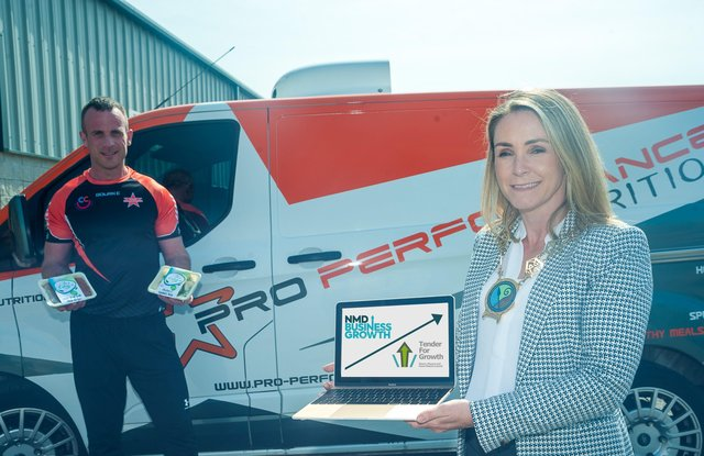 Councillor Laura Devlin, Chair of Newry, Mourne and Down District Council visits Pro-Performance Nutrition Headquarters in Newry with Owner, Eddie Curran, to learn more about the growth of the business thanks to the NMD Business programmes