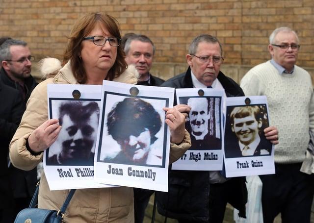 Relatives of ten people shot dead in Ballymurphy in 1971. Photo: Pacemaker Belfast