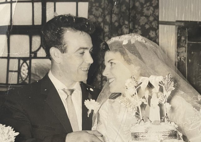 Edward and Martha O'Neill on their wedding day. Edward was killed in the 1974 Dublin Monaghan bombings while his wife miscarried their unborn daughter, also Martha, as a result of the trauma.
