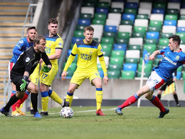 Stephen Fallon slots home from close range to put Linfield back in front against Dungannon Swifts