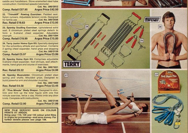 Home exercise equipment in a 1976 edition of the Argos catalogue