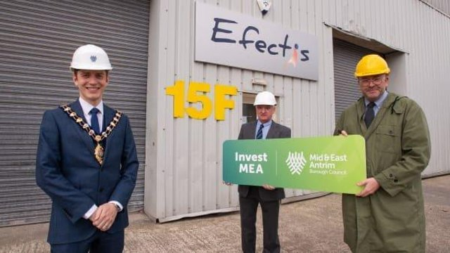 Mayor Cllr Peter Johnston, Lab Manager Efectis UK and Ireland, Maurice McKee and Timothy Brundle, Director of Research and Impact at Ulster University