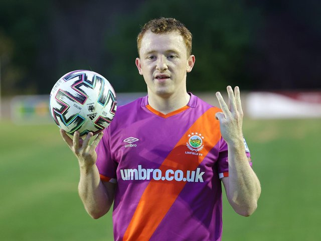 Shayne Lavery with the match ball after his hat-trick for Linfield