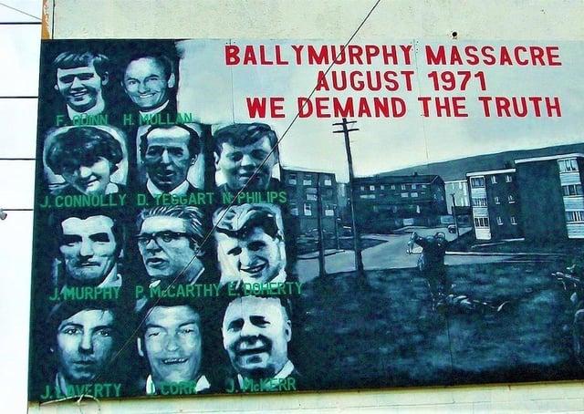 A mural honouring those killed at Ballymurphy