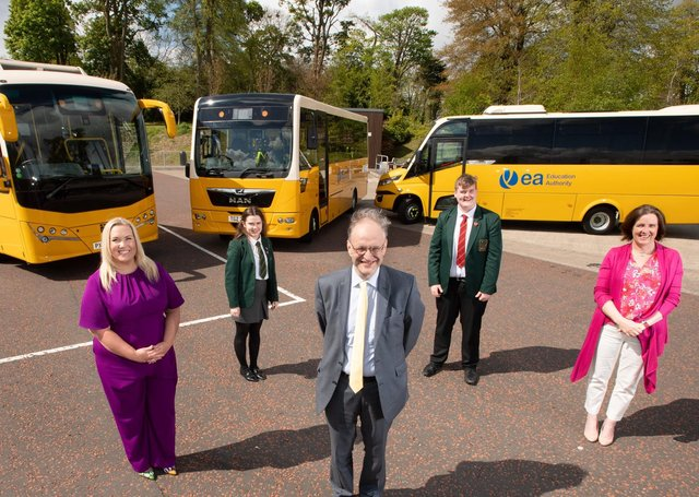 Eve Bremner, Assistant Director of Transport, Education Authority, Amanda McNamee Principal, Lagan College, head boy Will Poland, head girl Erin Thompson and Education Minister Peter Weir